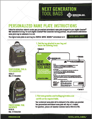 Next Generation Tool Bags Name Plate Instructions